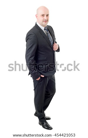 businessman full length, thinking, isolated on white