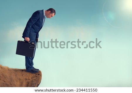 businessman gap worry fear obstacle - stock photo