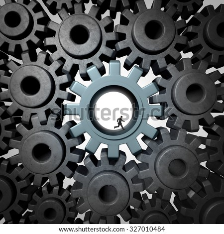 Businessman gear run concept as giant gears or cog wheels inside a network of machine parts being moved by a small person as a financial concept for economic engine or overworked essential employee. - stock photo