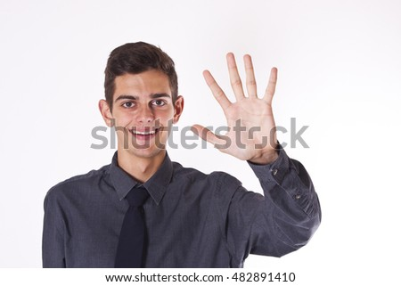 businessman gesture isolated with five