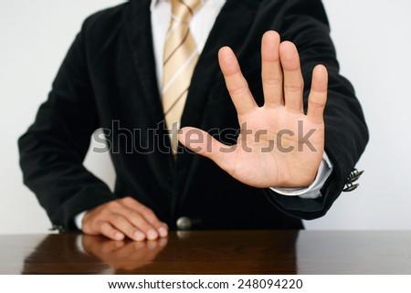 "Businessman gesture ""stop"" - stock photo"