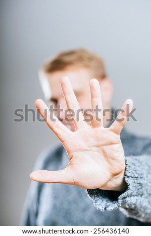 Businessman , gesturing stop - stock photo