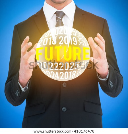 Businessman gesturing with his hands against blue background digitally generated blue design background - stock photo