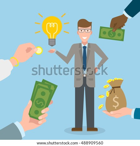 Businessman gets money for the idea. Handsome businessman has idea bulb. Selling new ideas, getting money. Funding concept.