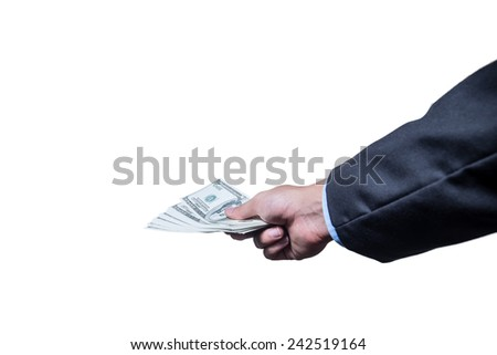 Businessman gift a money on  isolated on white