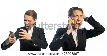 Businessman - girl screaming on the phone