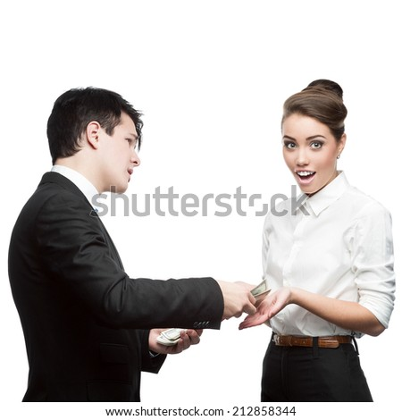businessman give money to surprised businesswoman isolated on white - stock photo