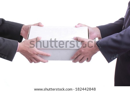 Businessman give white box gift to customer with white background