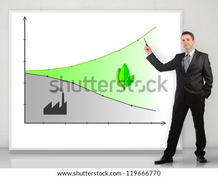 Businessman giving a presentation about ecology - stock photo