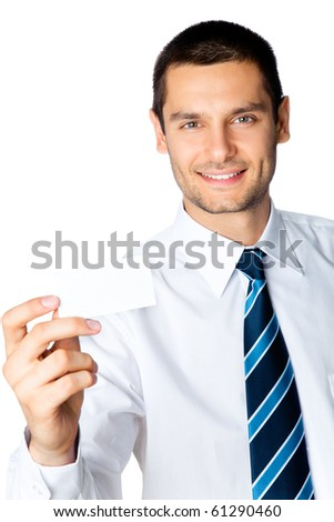 Businessman giving business card, isolated on white