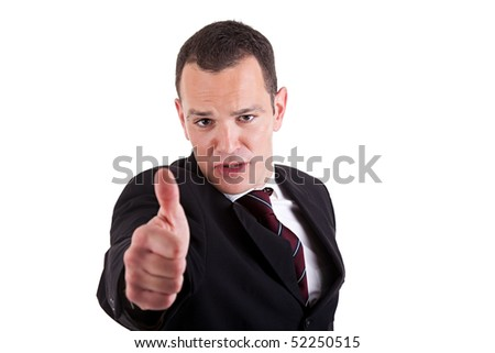 businessman giving consent, with thumb up,  isolated on white background. Studio shot