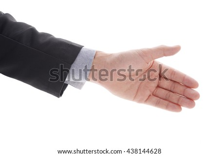 Businessman giving hand for handshake to friend, partner, or team. Business concept in agreement or make deal. Isolated on white.  - stock photo