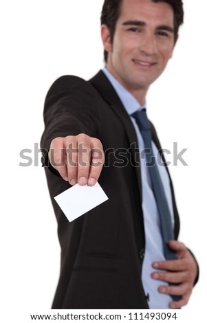 businessman giving his visit card - stock photo