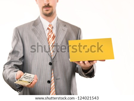 Businessman giving money, blank card in other hand