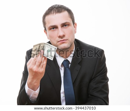 Businessman giving one hundred dollars, closeup shot - stock photo