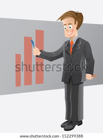 Businessman Giving Presentation A suited businessman giving presentation and explaining graphs. This illustration contains AI10 CMYK printable file with high resolution JPEG preview.