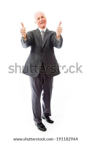 Businessman giving thumbs up sign with both hands - stock photo