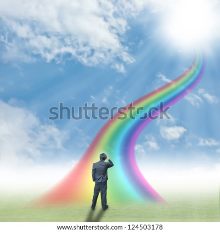 Businessman go to success - stock photo