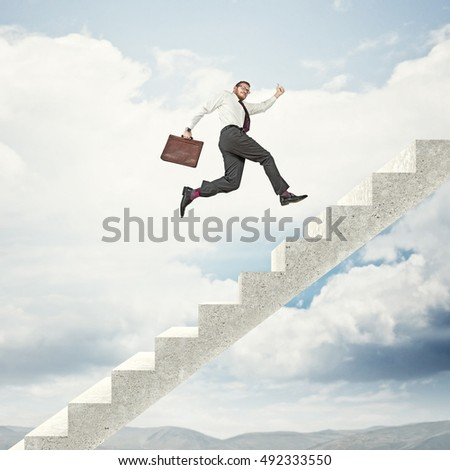 businessman go up on abstract 3d stair