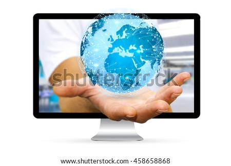 Businessman going out of a computer screen using data network '3D rendering'