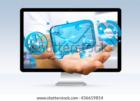 Businessman going out of a computer screen using his mailbox '3D rendering' - stock photo