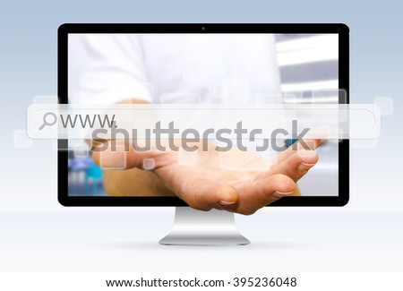 Businessman going out of a computer screen with digital web bar in his hands
