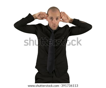 Businessman goofing portrait isolated