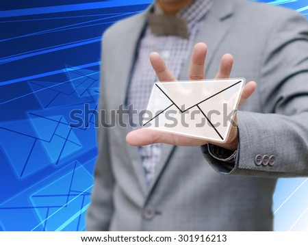 Businessman got email, Contact us concept