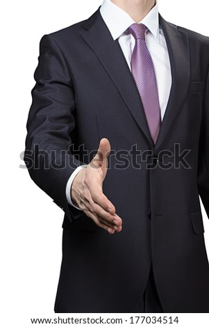 Businessman greeting - isolated photo with white background - stock photo