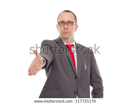 Businessman greeting somebody - stock photo