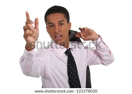 Businessman hailing a taxi - stock photo