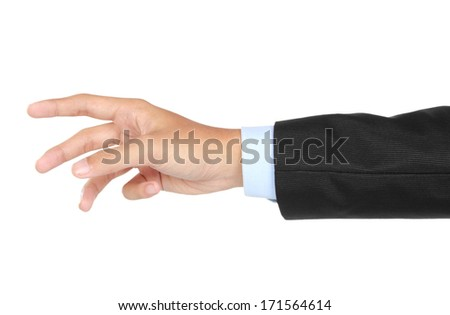 businessman hand and arm reaching for something isolated over white background