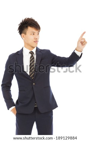 businessman hand and finger touching screen on white background - stock photo
