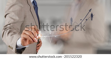 businessman hand and team working with new modern computer and business strategy as concept - stock photo