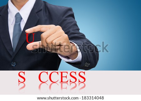 Businessman hand and word success concept.  - stock photo