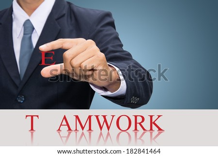Businessman hand and word teamwork concept.  - stock photo