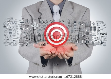 businessman hand 3d target sign and business strategy as concept