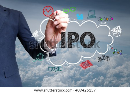 businessman hand draw cloud , icon cartoon with IPO text