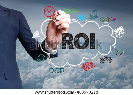 businessman hand draw cloud , icon cartoon with ROI text