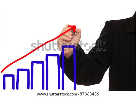 Businessman hand drawing a graph on white background