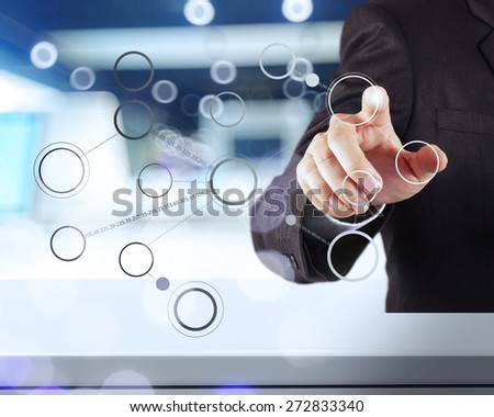 businessman hand drawing blank flow chart on new modern computer as concept - stock photo