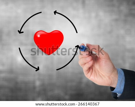 Businessman hand drawing circle around heart. Health concept. Isolated on grey. Stock Image