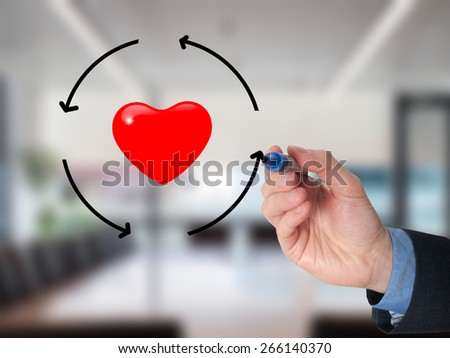 Businessman hand drawing circle around heart. Health concept. Isolated on office. Stock Image