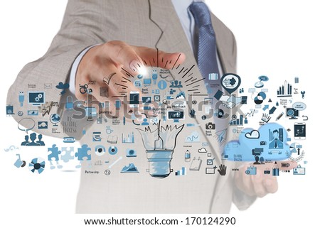 businessman hand drawing creative business strategy with light bulb as concept - stock photo