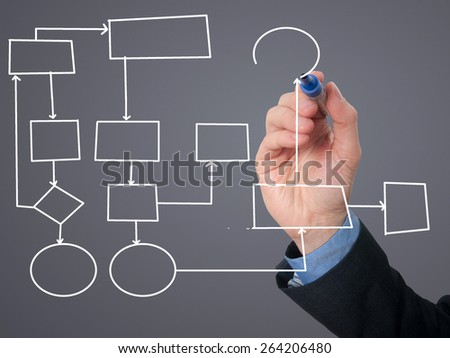 Businessman Hand drawing empty diagram. Isolated on grey background. Stock Image