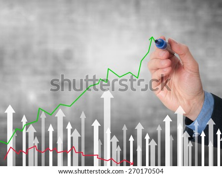 Businessman hand drawing graph of growth on visual screen. Man holding pencil. Business growth, technology, internet concept. Isolated on grey. Stock Image - stock photo
