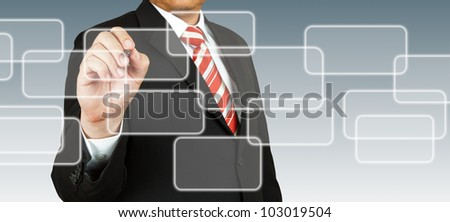 businessman hand drawing on blank rectangular