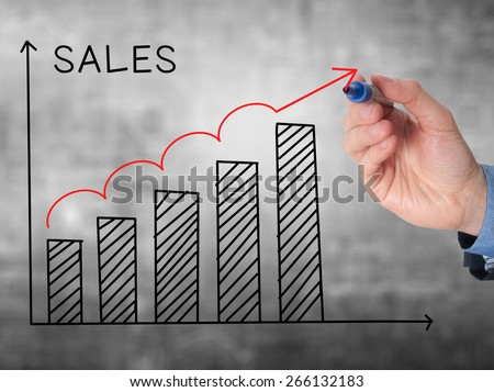 Businessman hand drawing Sales Growth Graph with marker on transparent wipe board. Isolated on grey. Sales concept. Stock Image