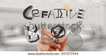 businessman hand draws creative blog word as concept - stock photo
