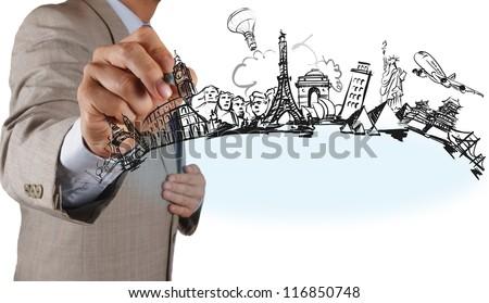 businessman hand draws dream travel around the world - stock photo